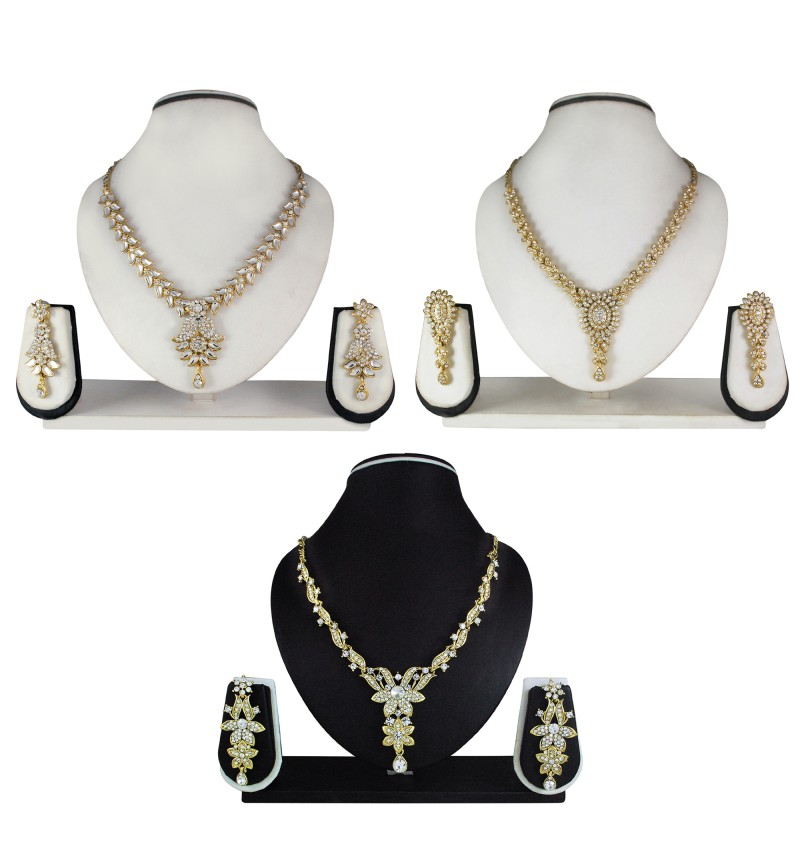 Atasi International Combo Diamond Look  Gold Plated Necklace Set for Women