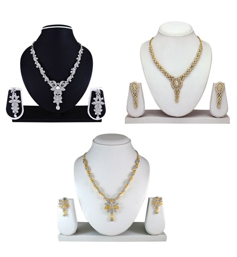 Atasi International Diamond Look Combo Silver And Gold Plated Necklace Set for Women