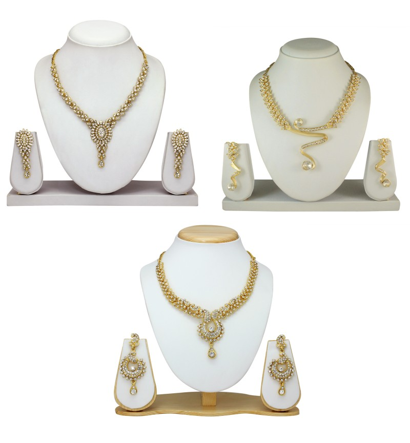 Atasi International Combo Two Tone  Gold Plated Necklace Set for Women