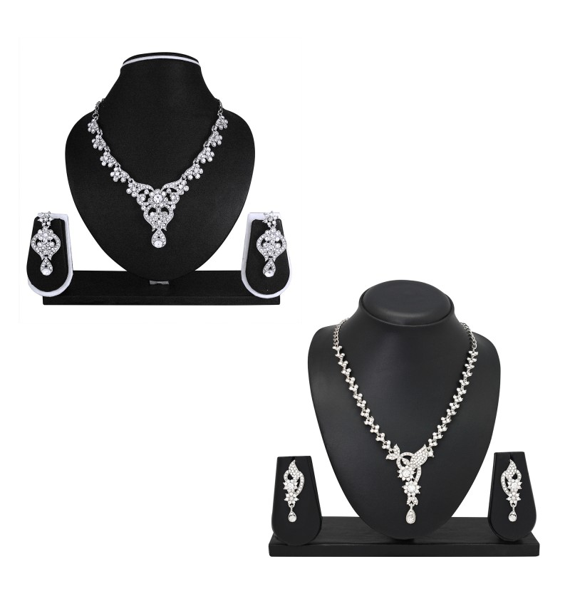 Atasi International Diamond Look Silver Plated Combo Jewellery Set for Women