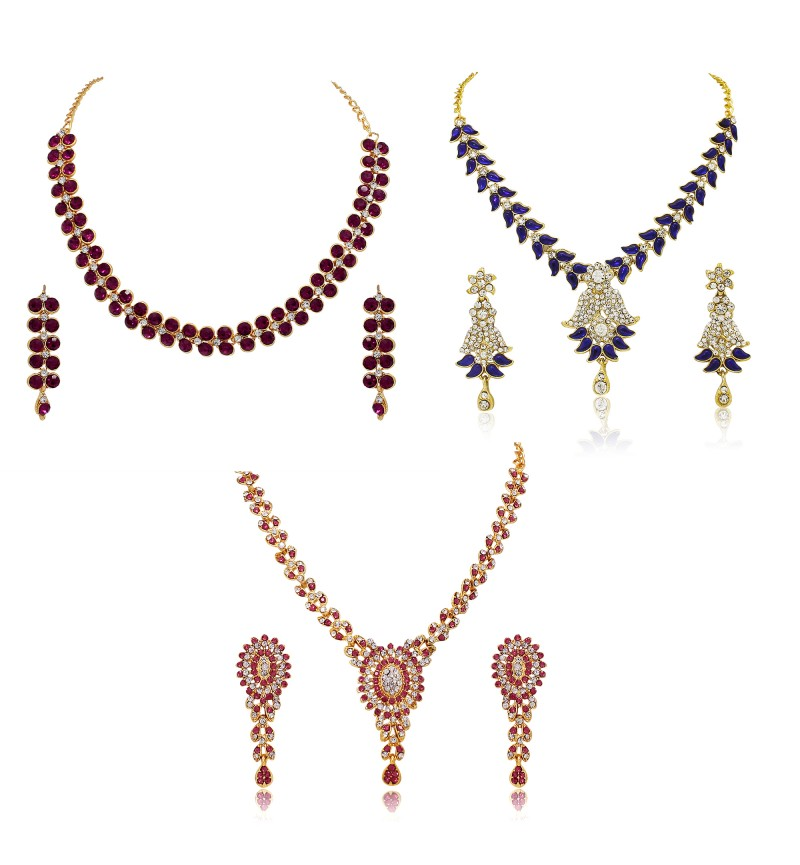 Atasi International Combo Designer Diamond Gold Plated Necklace Jewellery Set for Women