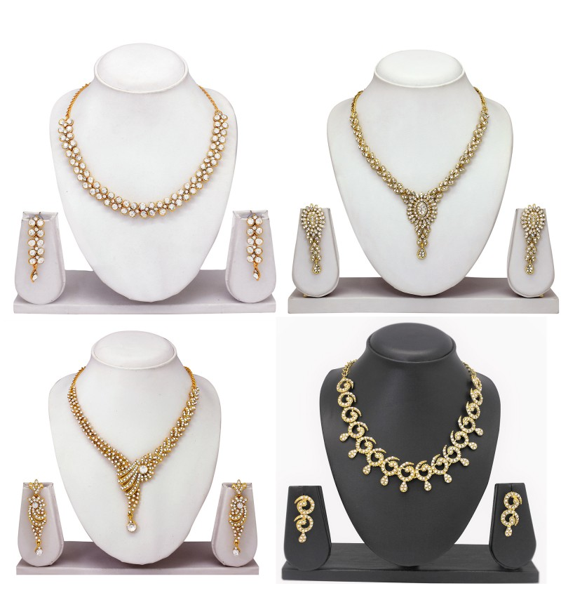 Atasi International Diamond Combo  Gold Plated designer Necklace Set for Women