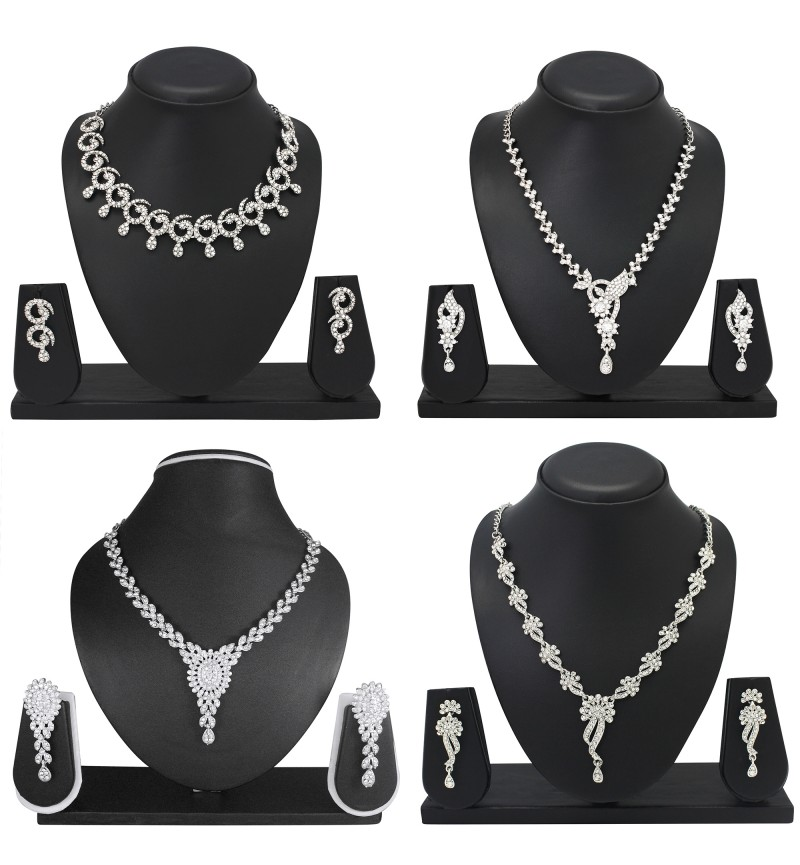 Atasi International Diamond Combo Silver Plated designer Necklace Set for Women