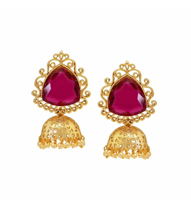 Atasi International Big Crystal Jhumki Earrings for woman