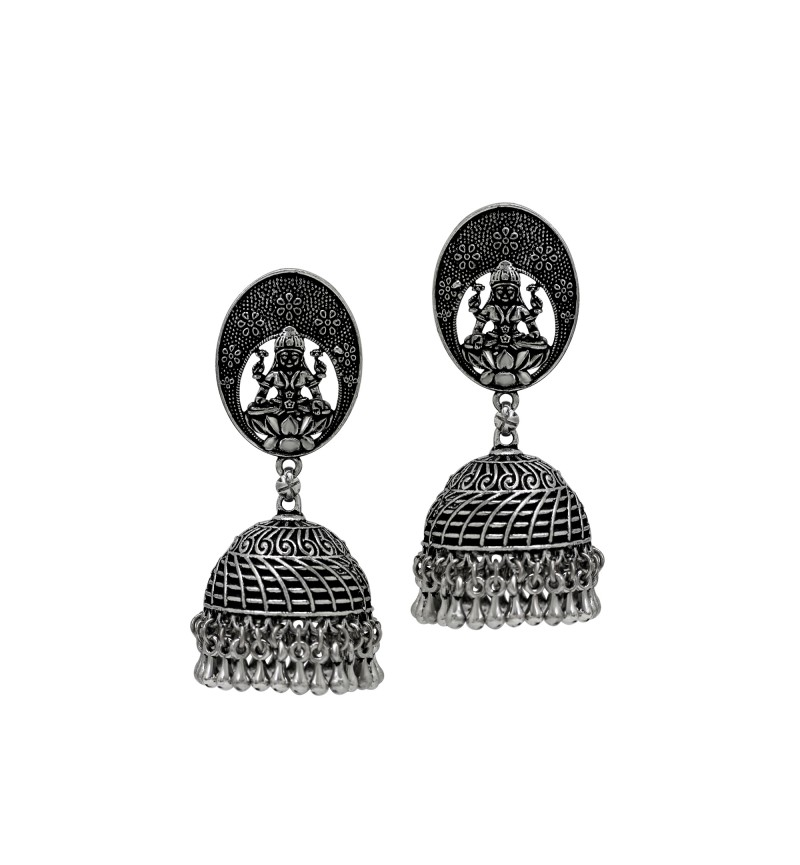 Atasi International RUBANS Silver Color Ethnic Artificial Beads Dome Shaped Oxidised Plated  Jhumki Earrings