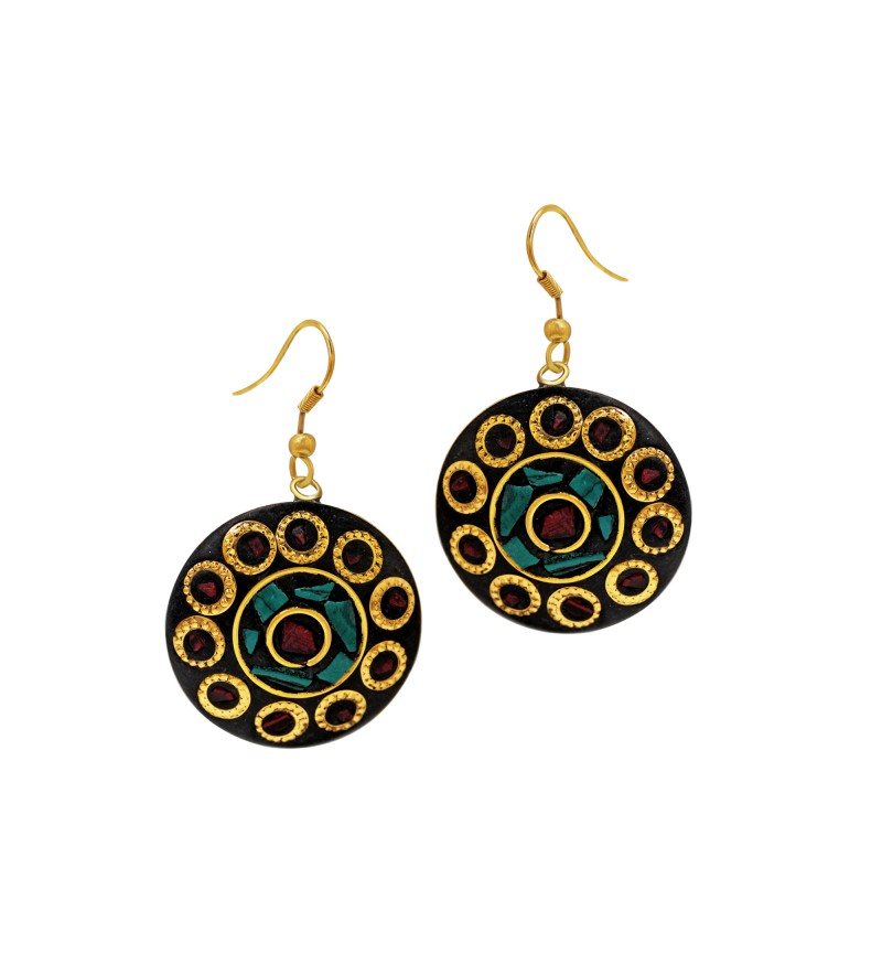 Atasi International Designer Oxidised Brass Plated Gold Metal Dangle & Drop Earrings for Women