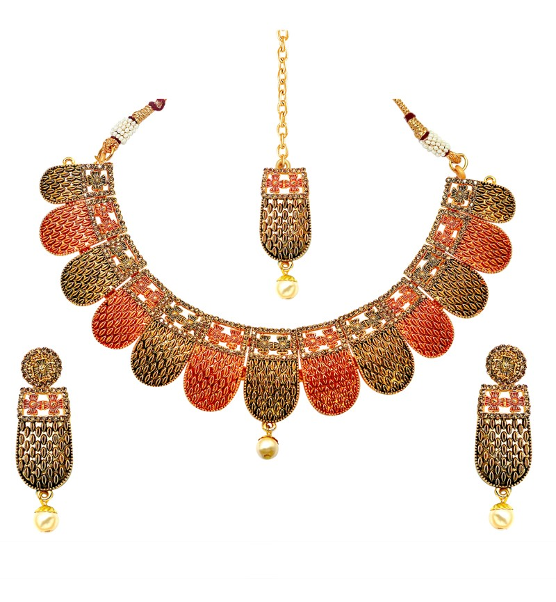 Atasi International Temple Gold Necklace Set for Women
