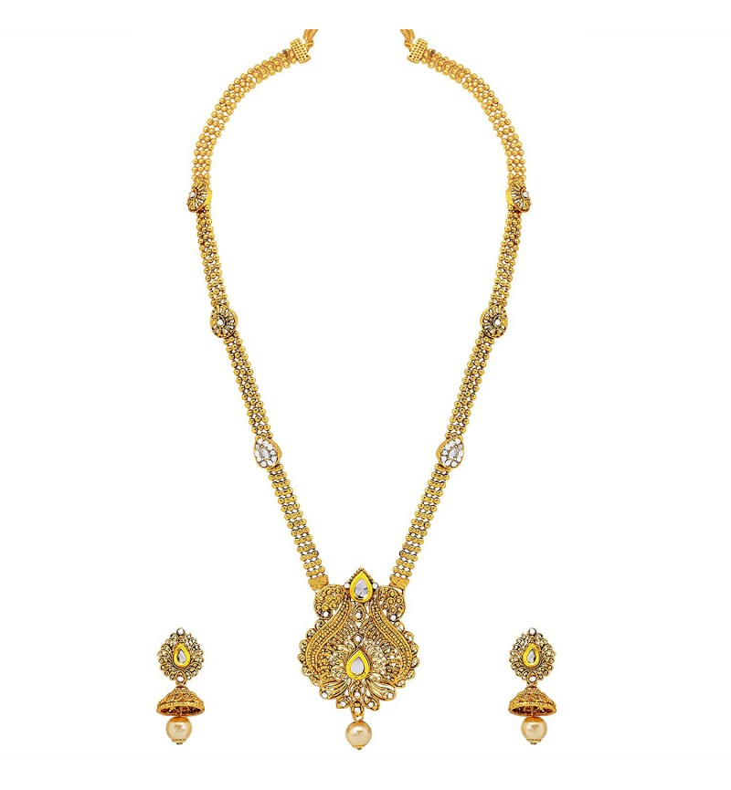 Atasi International Gold Plated Metal Necklace with Earrings for Women