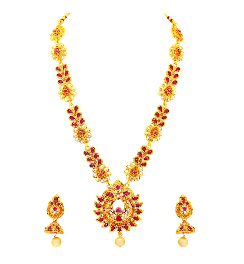 Atasi International Traditional Floral Theme Gold Necklace Set for Women