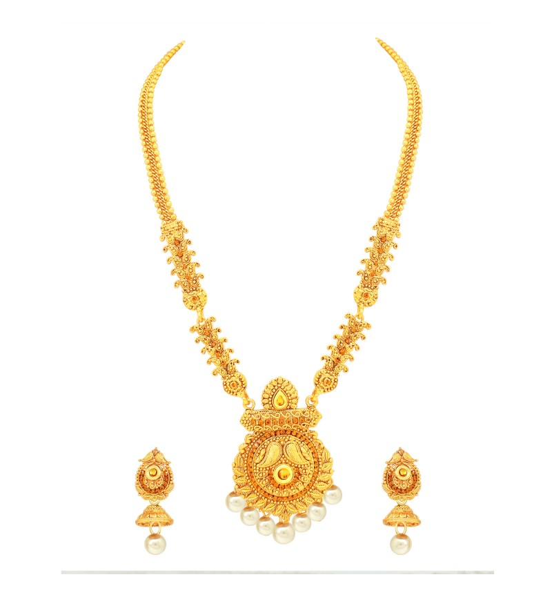 Atasi International Traditional Temple Style Gold Necklace Set for Women