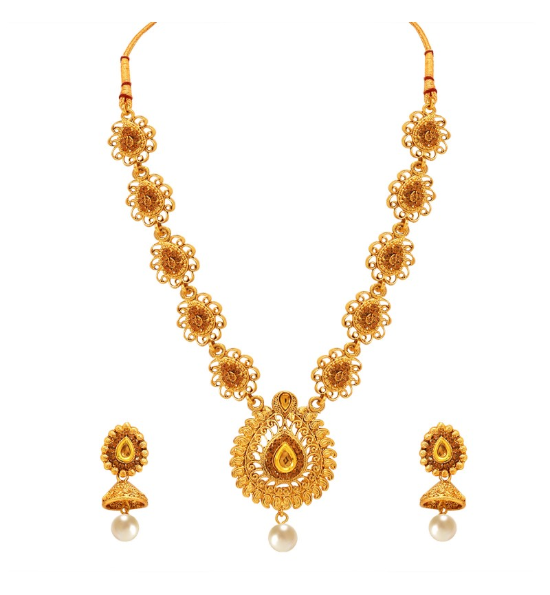 Atasi International Traditional Fancy Style Gold Necklace Set for Women