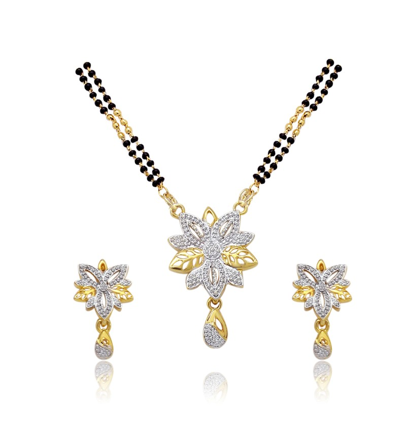 Atasi International Multicolor Rhinestone Mangalsutra With Earrings Set For Women