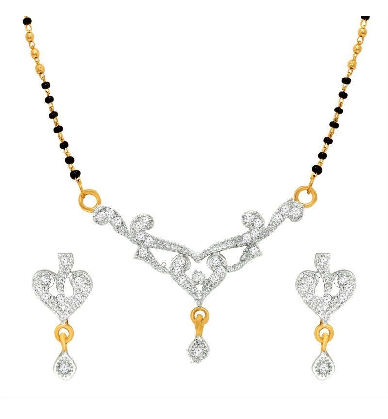 Atasi International Designer Mangalsutra Gold Plated Jewellery Set for Women