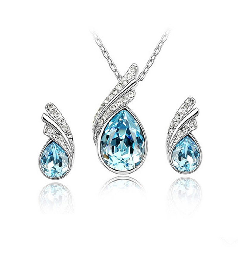 Atasi International Crystal Real Silver Plated Necklace Set for Women