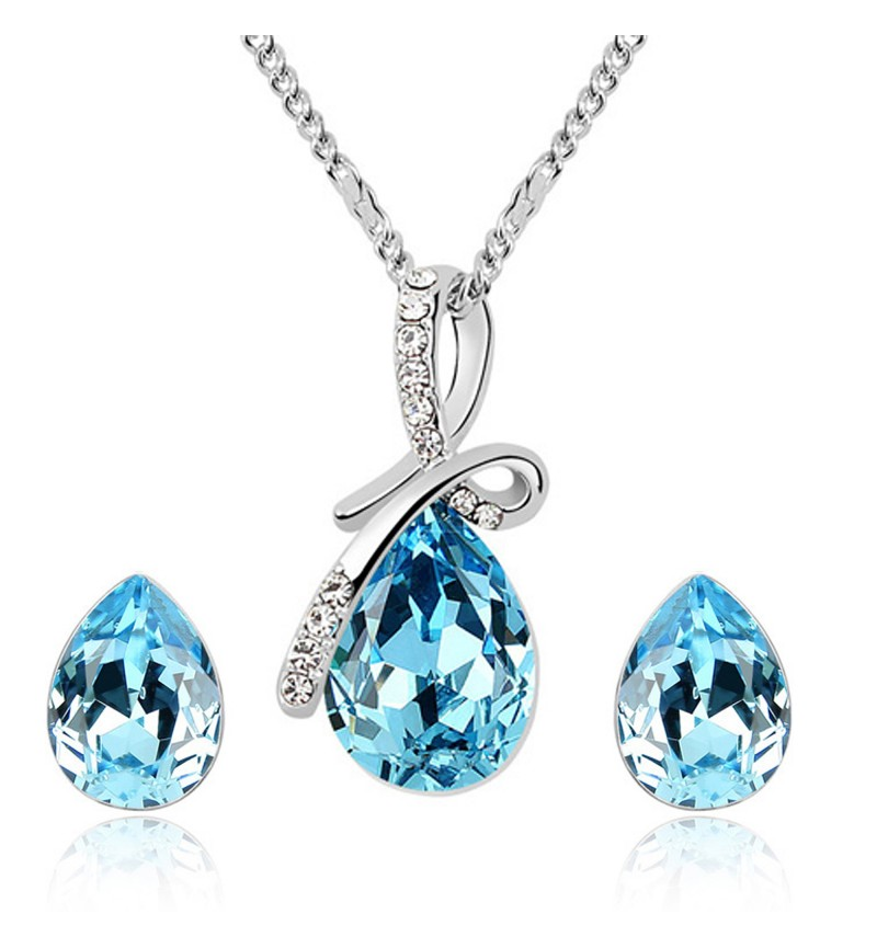 Atasi International Blue Crystal Knot Rhodium Plated Necklace Set for Women