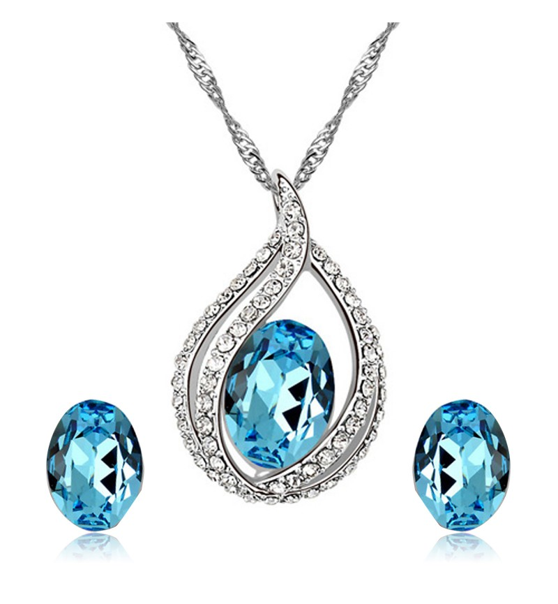 Atasi International Austrain Stone Crystal Silver Plated Necklace Set for Women