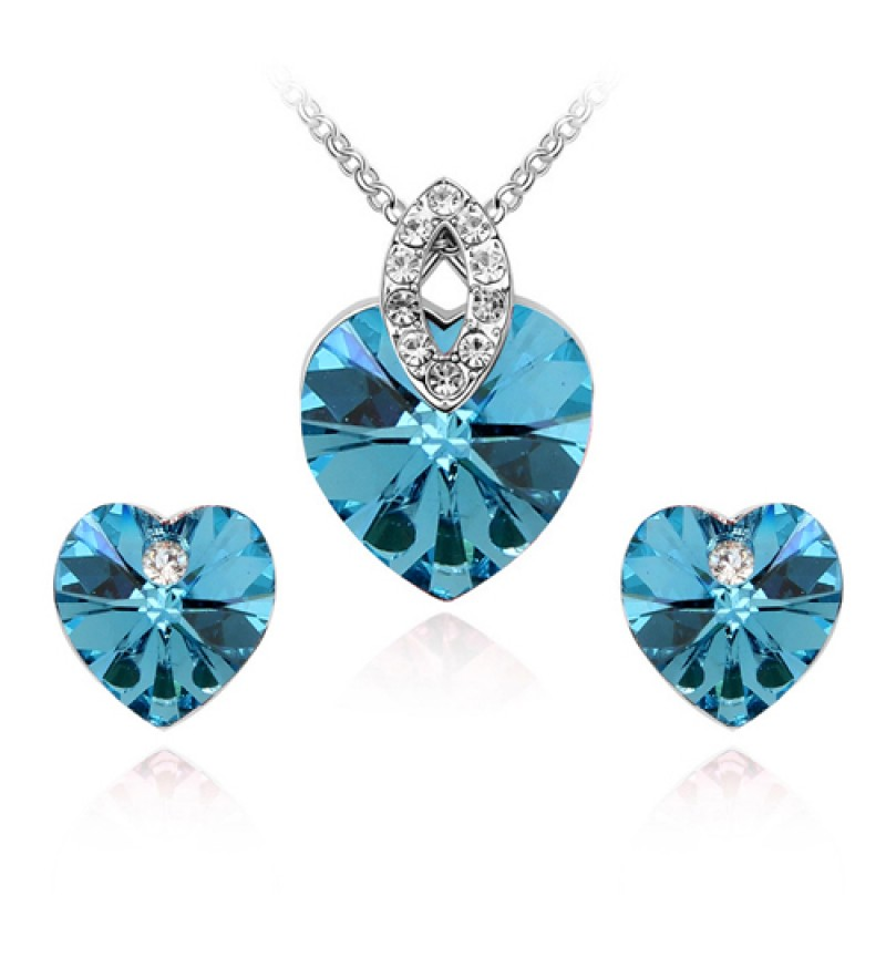 Atasi International Bue Crystal Heart Rhodium Plated Necklace Set for Women