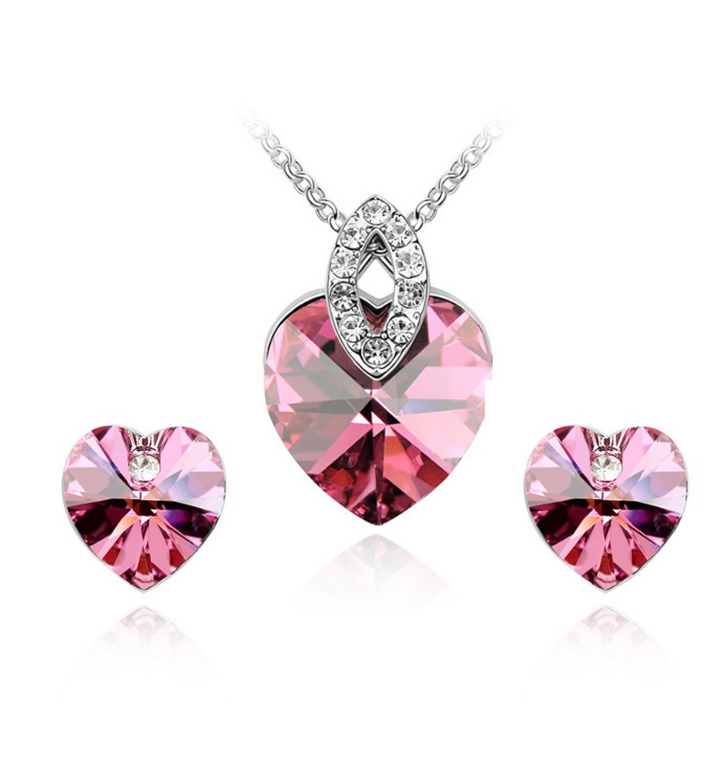Atasi International Pink Crystal Heart Silver Plated Necklace Set for Women