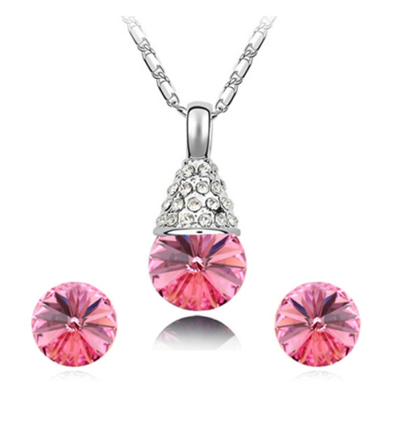 Atasi International Pink Crystal Stones Silver Plated Necklace Set for Women