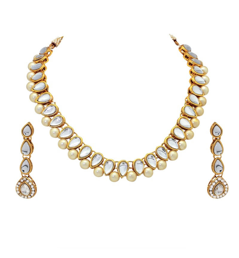 Atasi International Diamond Look Gold Plated Necklace Set for Women