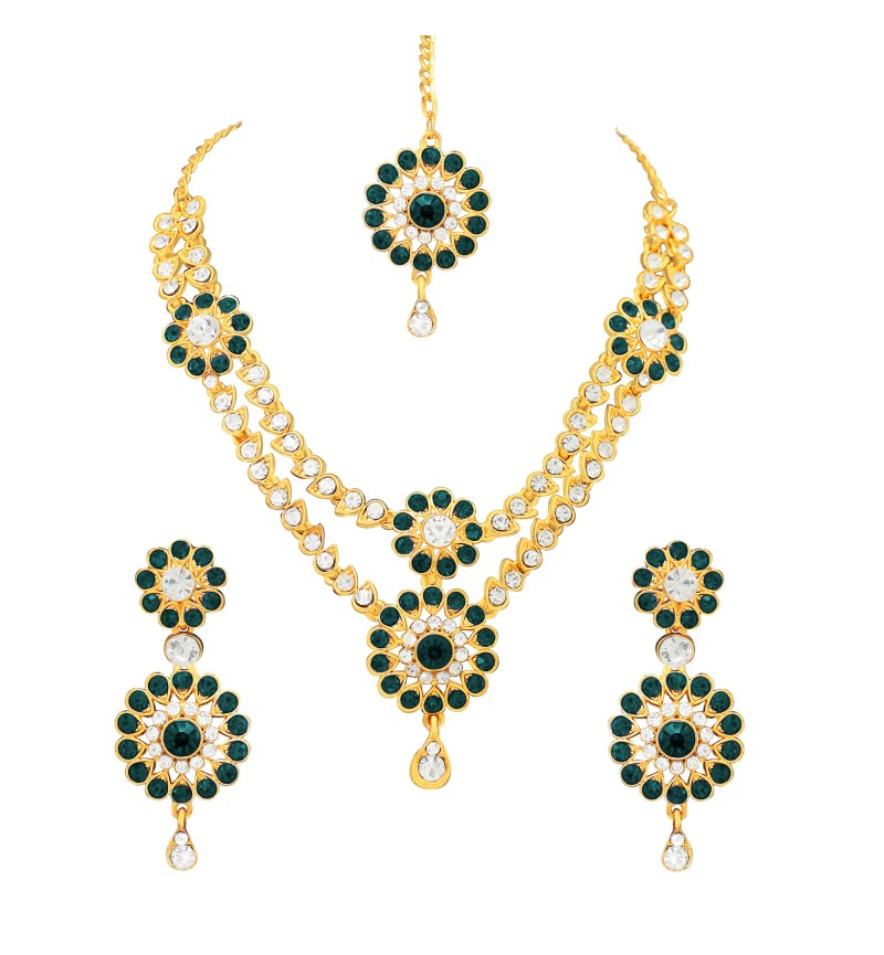 Atasi International Green Traditional Style Gold Plating Jewellery Set for Women