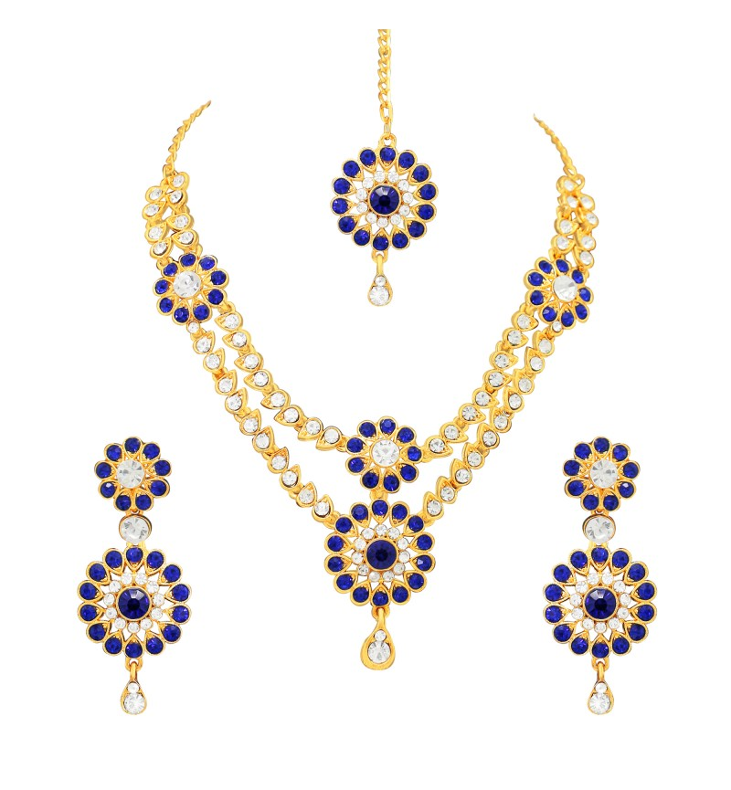 Atasi International Blue Diamonds Traditional Gold Plating Jewellery Set for Women