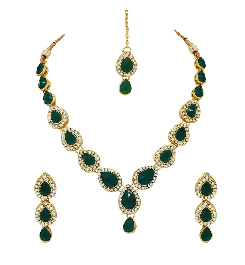 Atasi International Green Kundan Gold Plated Necklace Set for Women