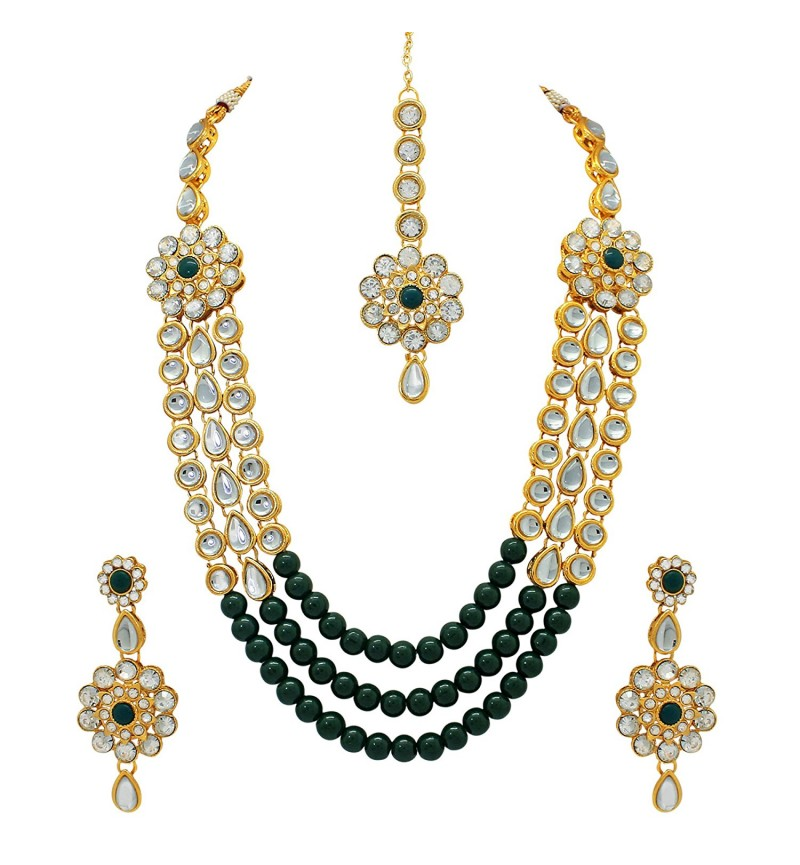 Atasi International Kundan Gold Antique Plated Necklace Set for Women