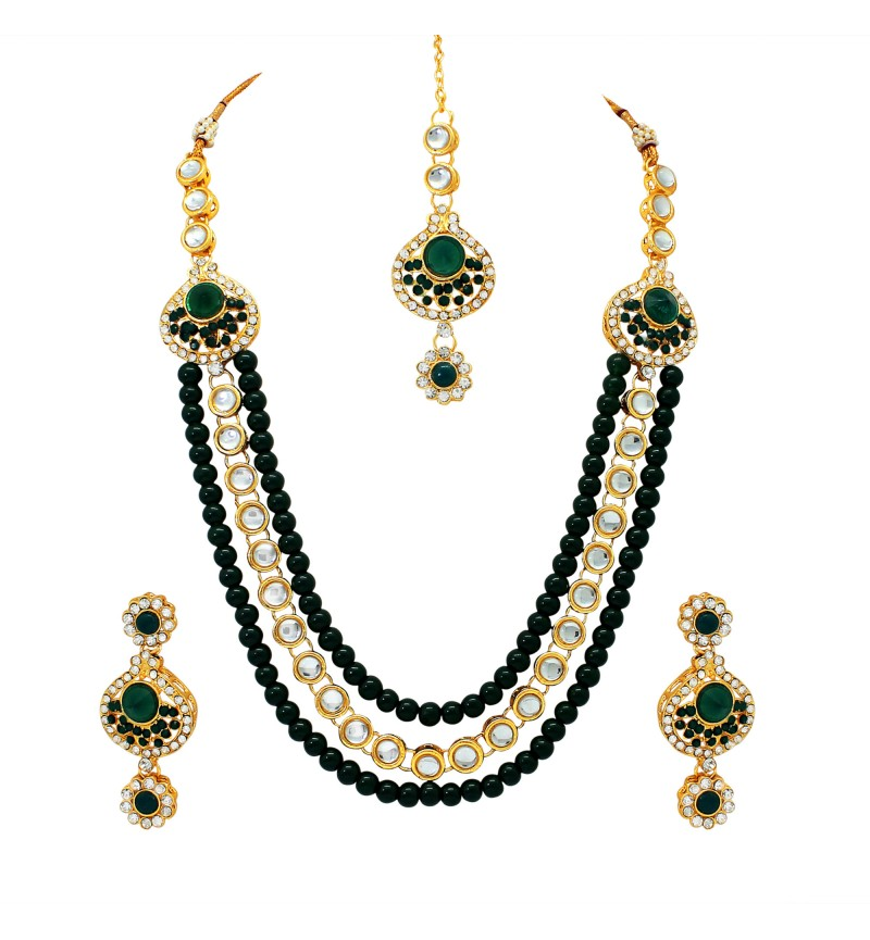 Atasi International Green Polki Gold Plated Necklace Set for Women