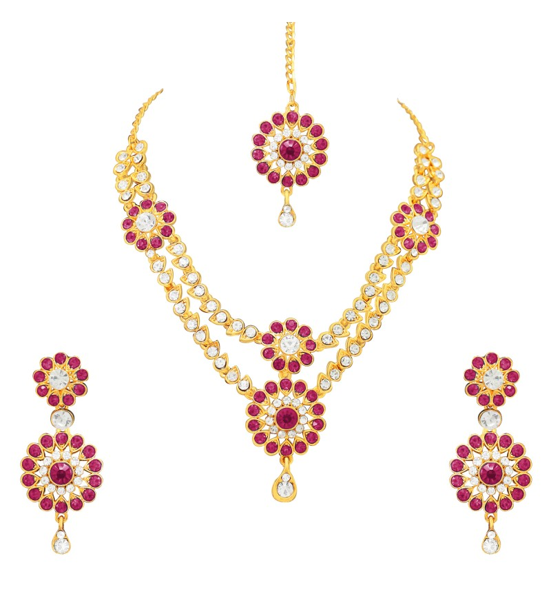 Atasi International Dark Pink Diamonds Traditional  Gold Plating Jewellery Set for Women