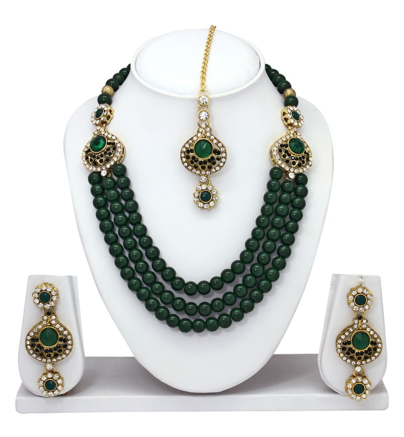 Atasi International Green Gold Kundan Fancy Necklace Set for Women