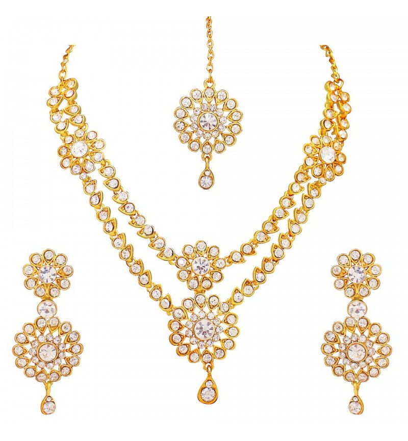 Atasi International Traditional Kudan Style Gold Plated Necklace Set for Women