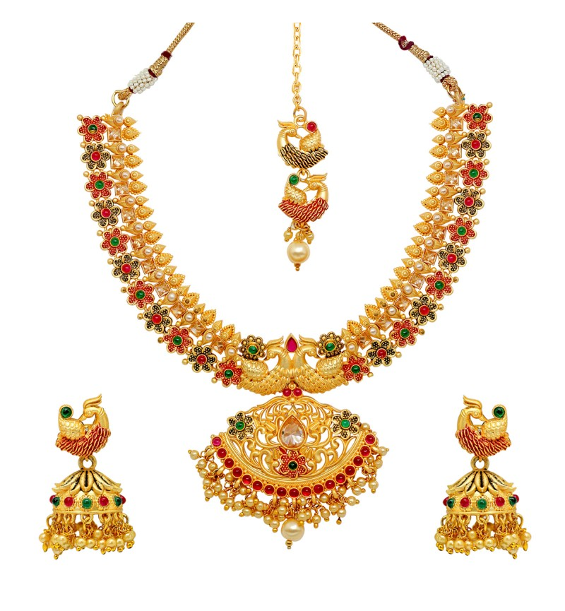 Atasi International Peacock Meenawork Multicolor Bridal Designer Jewellery Set for Women