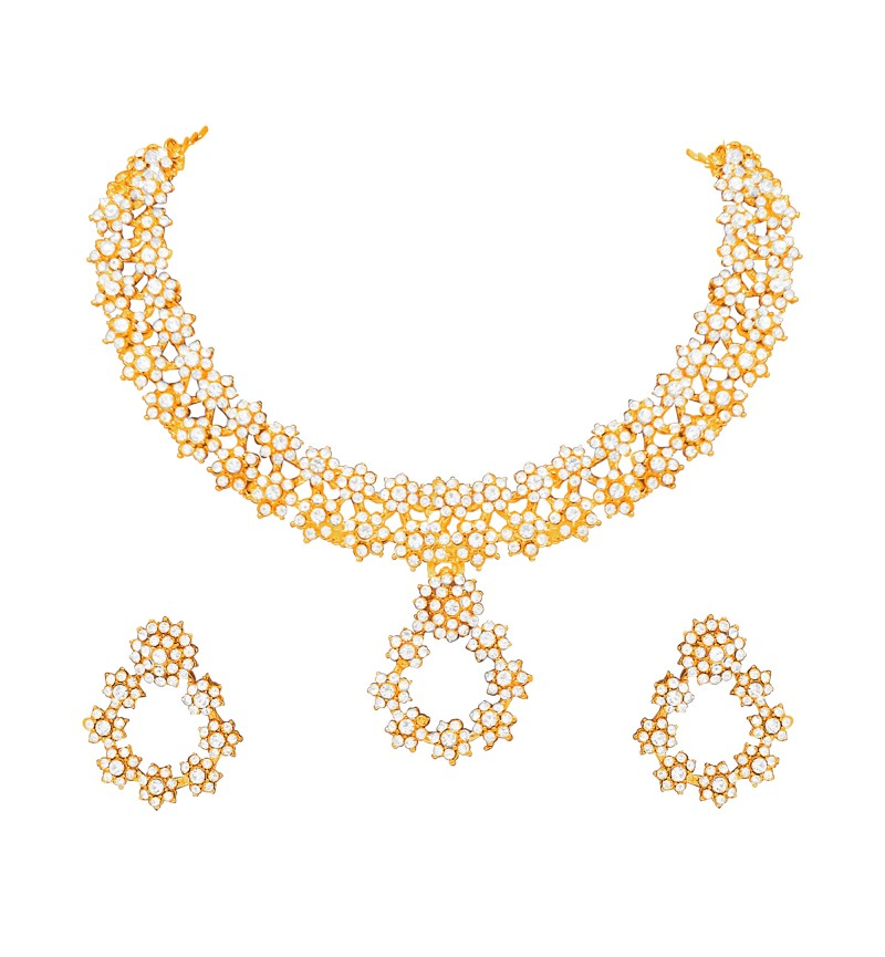 Atasi International Delight Diamond Gold Plated Necklace Set