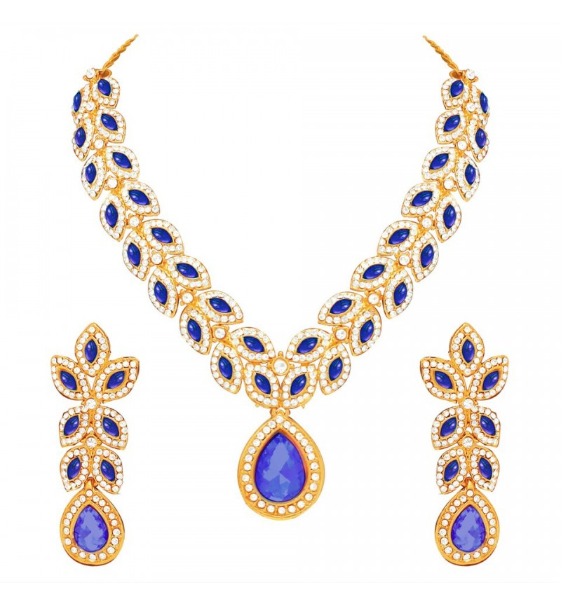 Atasi International Blue Ruby Diamond Look Petals Gold Plated Necklace Set