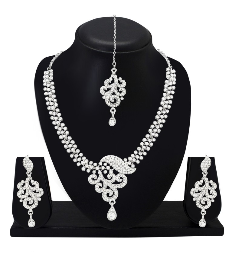 Atasi International Designer Diamond Silver Plated Necklace Set For Women